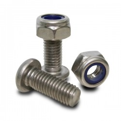 Stainless steel Bolt M10 (oval head) and Self Locking screw nut (pair)